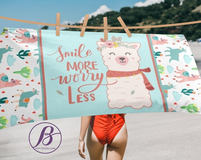 Quote Print Beach Towel - Extra Large Beach Towel With Quote Smile More, Worry Less Alpaca Print Towel