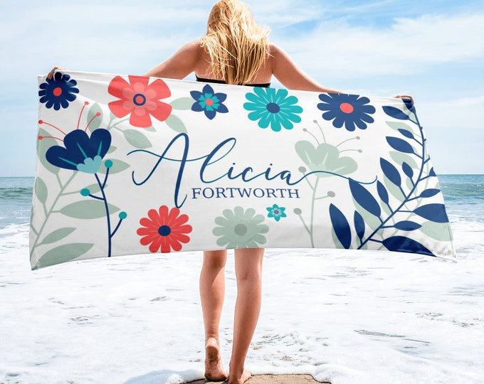Beach TowelGift for her - Personalized Towel with Elegant Script Custom Name Beach Towel, beach towel, monogram beach towel, beach blanket