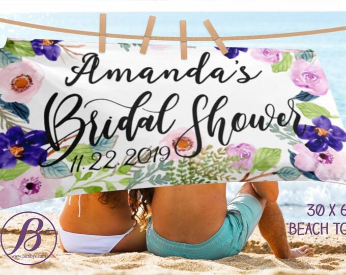 Bridal Shower Personalised Wedding Beach Towel | Bridal Shower Gift | | Gift for Bride | Newlywed Gift | Bridal Shower Gifts for Bride