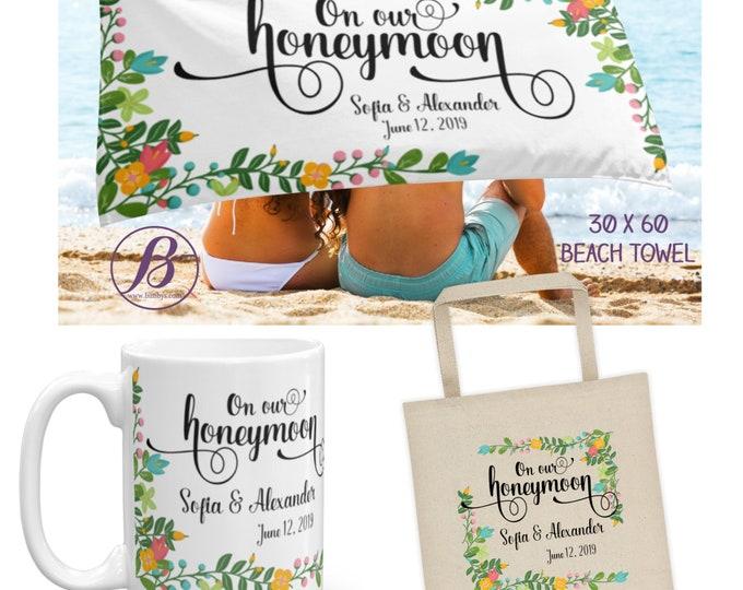 Honeymoon Gift custom beach towel | Bride and Groom Gift | Honeymoon Vibes | Mr and Mrs Gift | Unique Wedding Gift | Honeymoon Keepsake