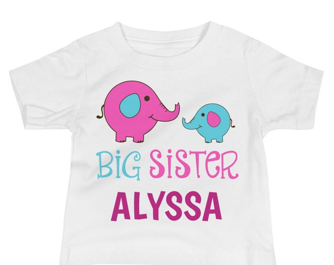 Big Sister - Personalized Big Sister Announcement, Toddler T-Shirt, Big Sister Gift, Elephant Print Big Sister Shirt, Promoted to Big Sister