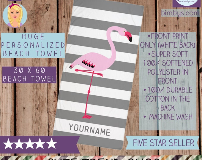 Personalized Beach Towel - Gray and White Stripes with Pink Flamingo Custom Name Beach Towel - Large Towel - stripe towel - bath