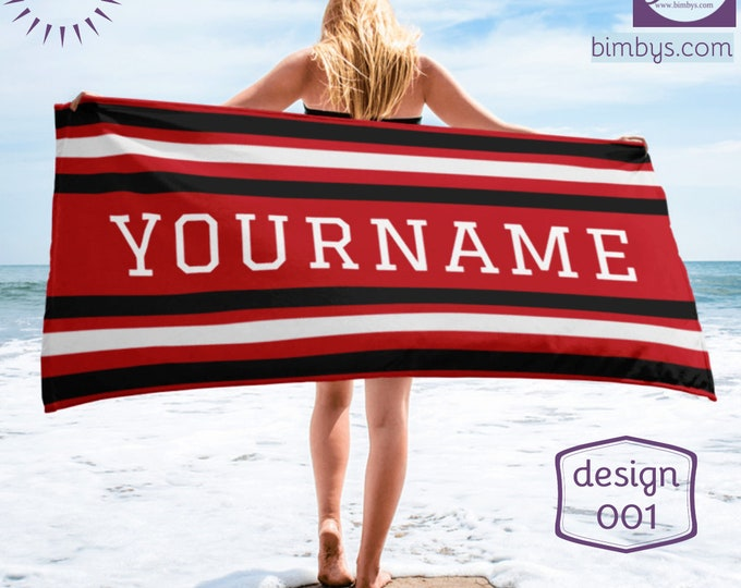 Stripes Beach Towels with Custom Name, Personalized Beach Towel, monogram beach towel, personalized gifts, bridesmaid gift
