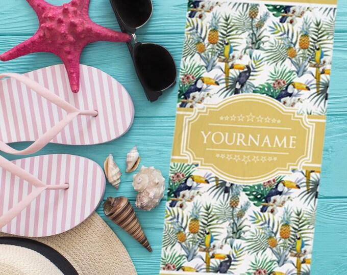 Monogram Pool Towel - Custom Name Hawaiian Tropical Pattern Beach Towel | Custom Beach Towel | Monogrammed Beach Towel, Personalized Towel