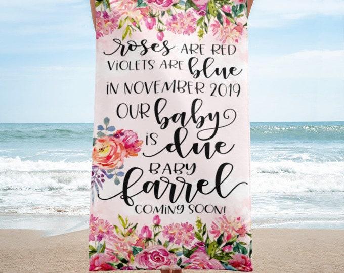 Beach TowelPregnancy Announcement | Pregnancy Photo Props - Pregnancy Announcement Beach Towel | Pregnancy Sign | Birth Announcement