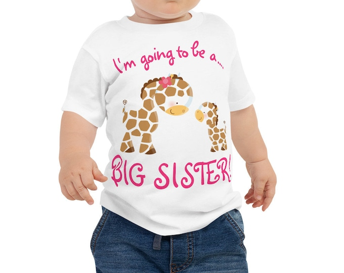 SALEI am Going to be a BIG Sister with Cute Giraffe Print Kids T-Shirt, Big Sister to be Baby Jersey Short Sleeve Tee, Giraffe Design