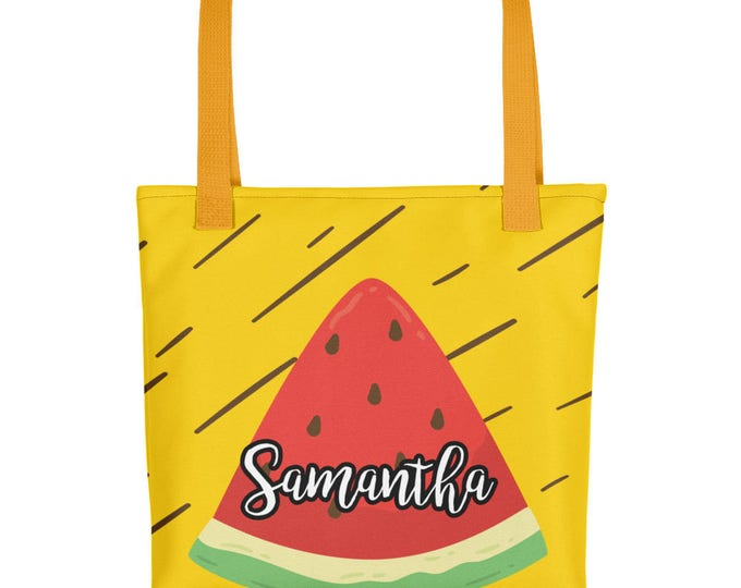 Custom Name Watermenlon Print Tote bag | Personalized Tote Bags | Custom Tote Bags | Personalized Bags | Summer Tote Bag | Cute Summer Bag
