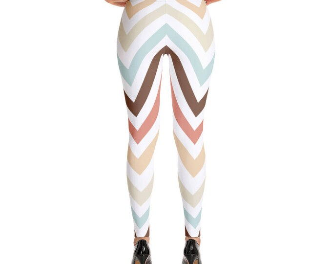 Mocha Latte Chevron Peaks Stripes Leggings,  Women's Leggings, Women's Tight Leggings, Pattern Print Tight Leggings, Legging Tights