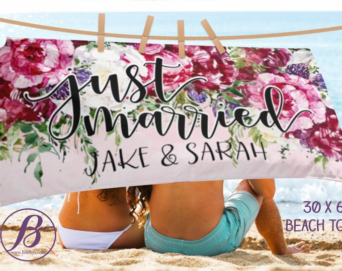 Personalized Just  Married Beach Towel, Honeymoon Beach Towel, Honeymoon Gift, Bride Wedding Beach Towel, Bridal Shower Gift, Gift For Bride