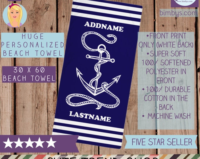 Personalized Beach Towels, Navy Anchor and Rope Personalized Name Beach Towel - Custom Name Beach Towel - monogram beach towel, personalized