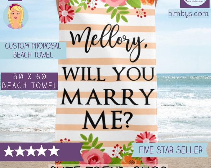 Custom Wedding Proposal Beach Towel - Personalized Towel - Monogram Beach Towel - Monogrammed Towel - Monogrammed Beach