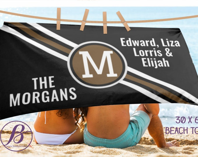 Beach Towels Wedding Last Name Beach Towel, Wedding Established Family Towel, Personalized Beach Towels, Custom family name gift