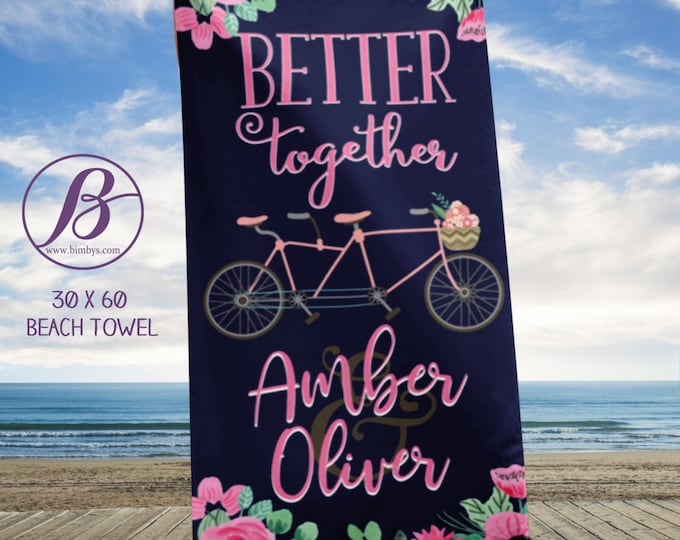 Better Together Bicycle for Two Custom Beach Towel - Wedding Beach Towel - Better Together, Wedding Favors, Wedding Favors, Wedding Gifts