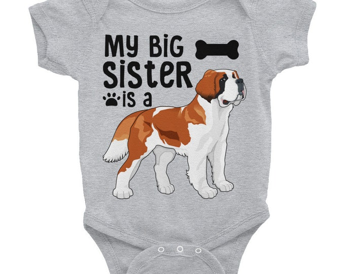 Cute Baby Clothes, Dog Sibling, Dog Sister Nappy   Funny Baby Nappy, My Big Sister is a St. Bernard, Cute Baby Outfit, Cute Baby Onsies,