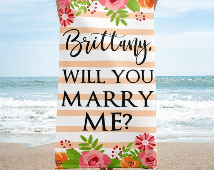 Marriage Proposal Personalized Unique Wedding Proposal Will You Marry Me Beach Towel - Wedding Gift Ideas - Proposal Idea - Engagement Idea