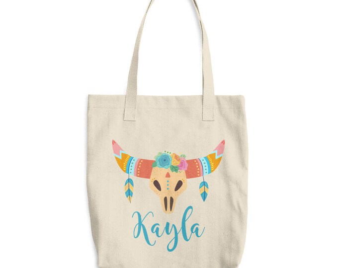Custom Boho Tote Bag | Personalized Canvas Tote Bag, Boho Skull and Horns |  Canvas tote bag  personalized tote, monogrammed tote  bag
