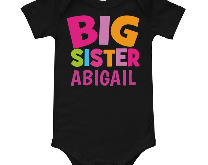 Personalized Name Big Sister Bodysuit | big sis shirt | personalized shirt | big sister outfit | little sister shirt | announcement shirt