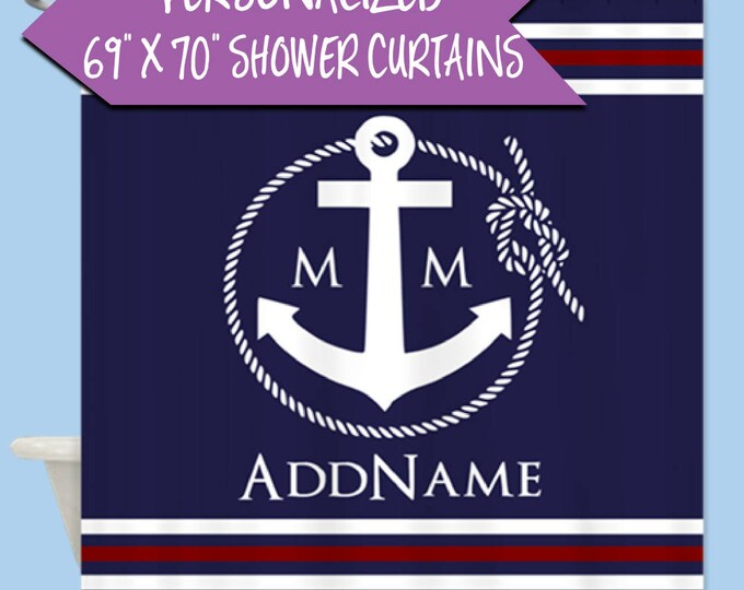 Anchor Personalized Shower Curtain Monogram | Personalized Monogram Shower Curtain | Navy Nautical Rope and Anchor Monogram Shower Curtain