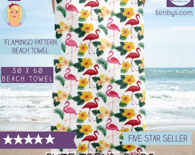 Bride Beach Towel - Elegant Flamingo Pattern Beach Towel - Gift Idea for Her - Beach Bridal Shower Towel - Beach Bride - Beach Bachelorette