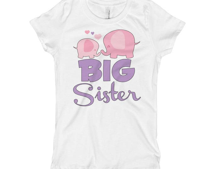 Elephant Big Sister Elephant Big Sister Shirt , Big Sister Shirt, Big Sister Announcement Shirt, Sibling Pregnancy Baby Announcement Shirt
