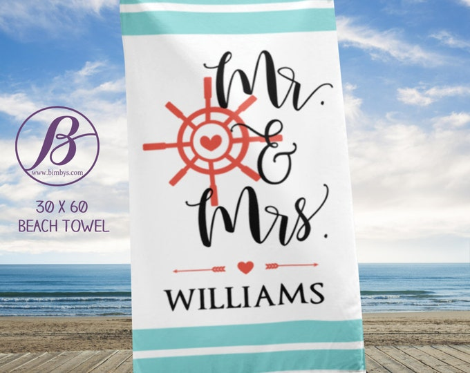 Personalized Mr and Mrs Beach Towel | Newlywed Gift Wedding Bride Groom, Custom Name Gifts, Mrs & Mr Last Name Beach Towels, Gift for Couple