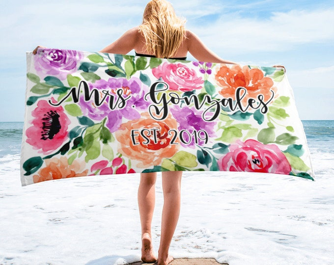 Personalised Wedding Beach Towel | Custom Bride Towel| Bridal Shower Gift | | Gift for Bride | Newlywed Gift | Bridal Shower Gifts for Bride
