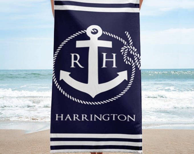 Monogrammed Beach Towels, Beach Towels, Personalized Beach Towels, Nautical Rope and Anchor Monogram Beach Towel, Monogram Beach Towel
