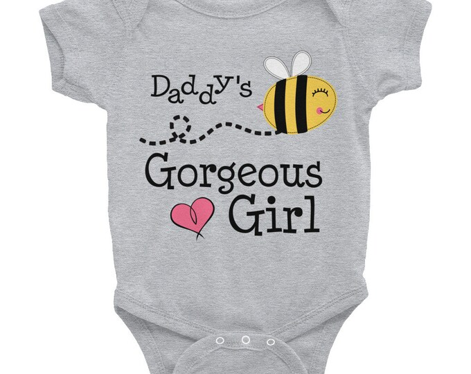 Daddy's Gorgeous Girl Infant Bodysuit, Bee Print Baby Romper, Daddy baby Bodysuits, romper, baby shower gift, baby romper, baby bodysuit