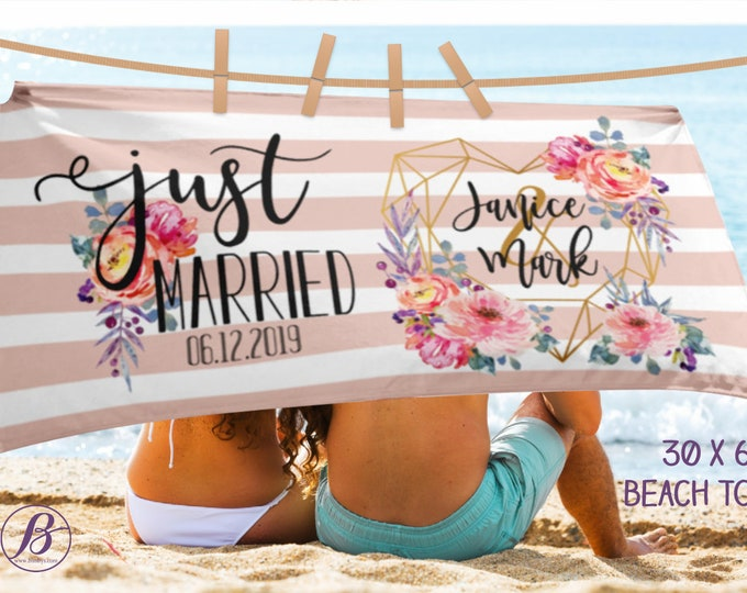FREE SHIPPING Sale Just Married - Bride Towel - Beach Towel- Bridesmaid Gift - Bride Gift - Engagement Party Decorations - Honeymoon Gift -