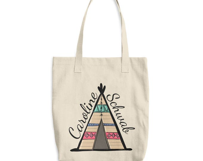 Personalized Boho Teepee Cotton Tote Bag | Bridesmaid Tote Bag, Personalized Bridesmaid Gift, Maid of Honor Totes, Bridal Party Bags,