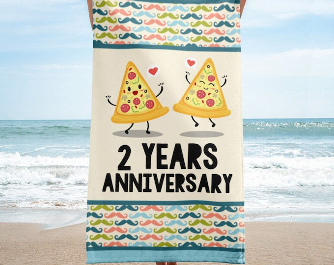 2 Years Together 2nd Anniversary Beach Towel, 2nd Anniversary, Second Anniversary, Gift for Husband and Wife, 2 Years Down, Cotton