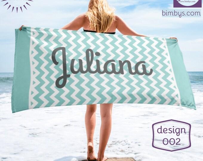 Chevron Personalized Beach Towel, PCustom Towel,Personalized Towel, Bridal Gift, Bridesmaid Gift, Wedding Gift, Honeymoon, Monogram Chevron