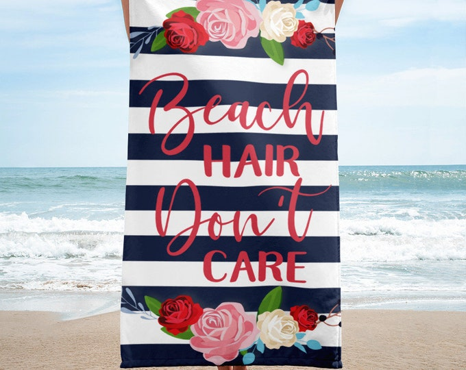 Beach Hair Don't Care with Flowers and Stripes - Large Beach Towel - Bath Towels - Summer Beach Towel - Striped Beach Towel - Boho Beach