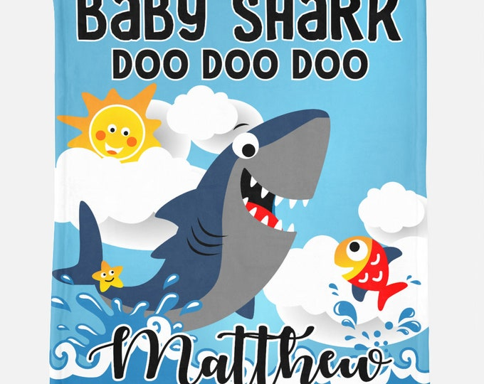 Baby Shark Custom Blanket - Personalized Shark Doo Doo Doo Blankets for Kids