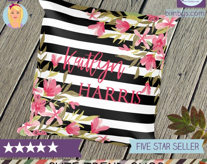 Personalized Name Throw Pillow with Flowers and Black and White Stripes Design - Custom Name Throw Pillow - Girly Throw Pillows - Decorative