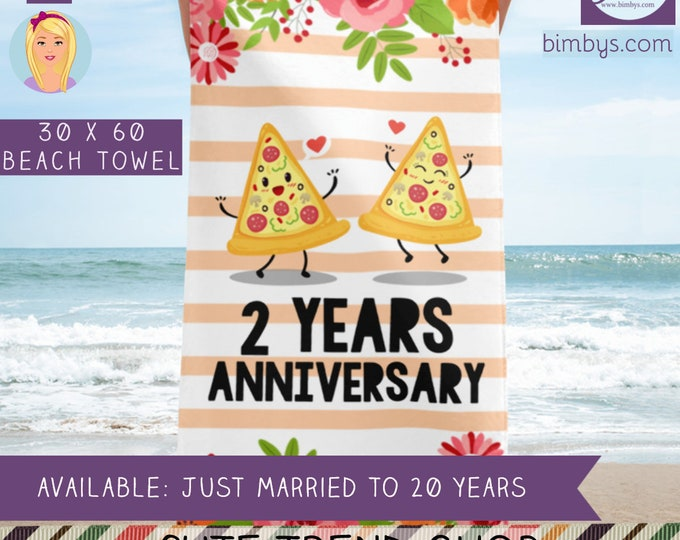 Anniversary Gift Idea Beach Towel - Wedding Anniversary - Funny Anniversary - Wedding Milestone - Happy Anniversary To A Husband and Wife
