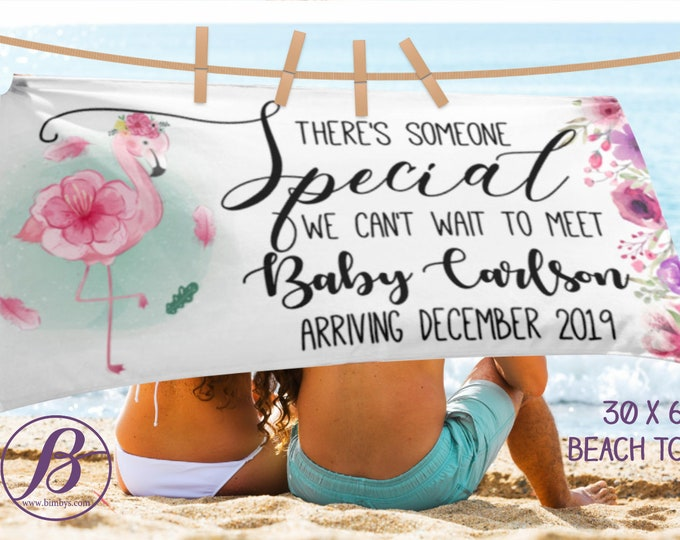 Beach TowelCute Pregnancy Announcement Photo Props Sign Beach Towel - We're Pregnant Custom Baby Announcement - pregnant reveal props