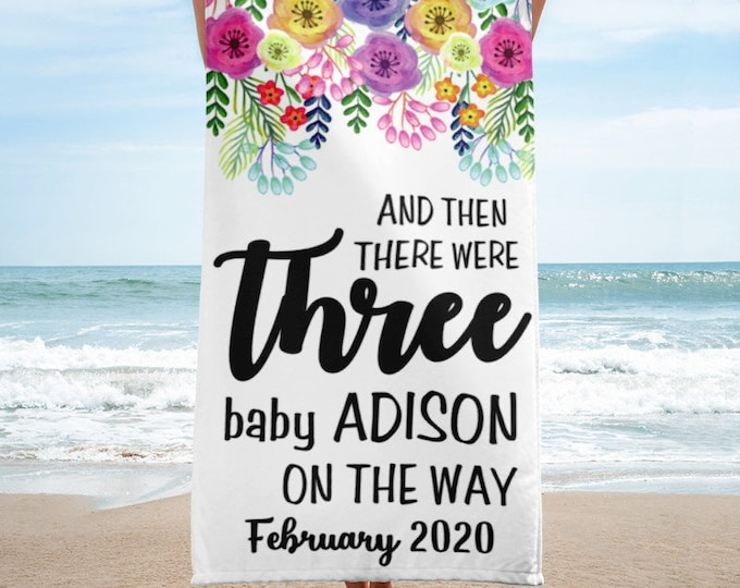 Personalized Beach Towels Pregnancy Announcement - Pregnancy Photo Props Beach Towel