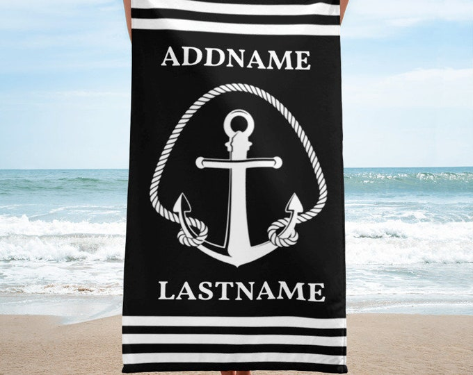 Personalized Towel, Custom Bath Towels, Black and White Anchor Rope Personalized Beach Towels, Beach Towels Personalized, Monogrammed Towel