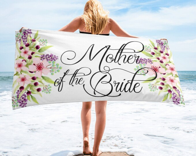bridal party Mother of the Bride Beach Towel - Bride Beach Towel - Beach Towels  - Bride Towel - Bridesmaid Gift