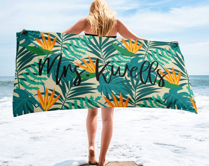 Beach TowelCustom Name Towel, Tropical Pattern Custom Beach Towel, Tropical Beach Towel, Personalized Towels, Palm Leaves, Tropical vacation