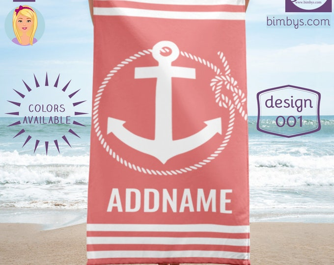 Custom Anchor and Rope Towel, Monogrammed Beach Towel, Personalized Towel, Monogram Pool Towel, Custom Printed Beach Towel