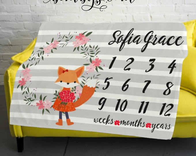 Floral Fox Milestone Blanket -Woodland Milestone Blanket Monthly -  Monthly Growth Tracker Baby Blanket - Baby Girl Shower Gift