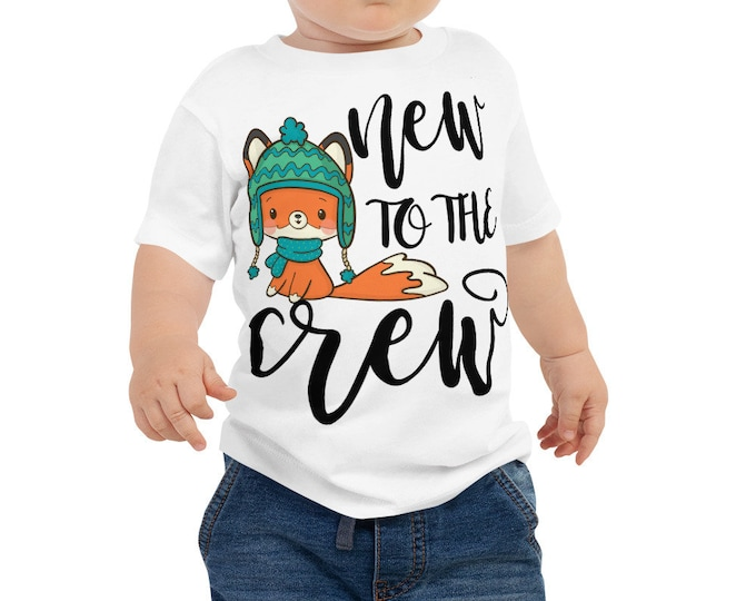 New to the Crew new baby shirt with cute fox in winter outfit - new sibling shirt