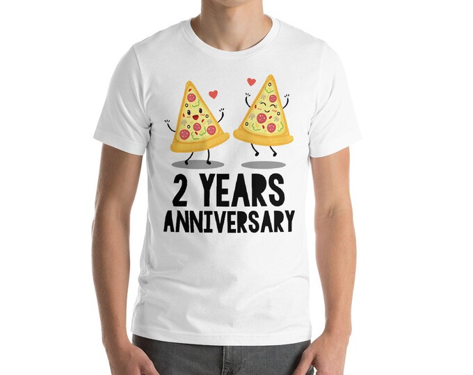 2 Years Anniversary Pizza Couple Short-Sleeve Unisex T-Shirt,2nd anniversary,Funny 2nd anniversary,Anniversary,Gift idea for 2nd anniversary