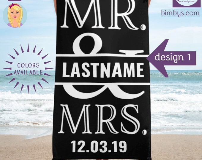 Mr and Mrs Personalized Beach Towel, Mr and Mrs Gifts, Wedding Gift, Established Towels, Newlywed Gifts, Gifts For The Couple, Mr and Mrs