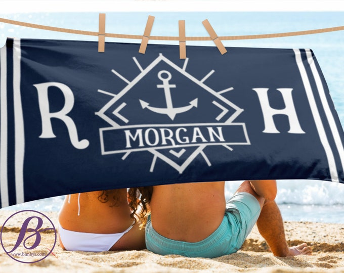 FREE SHIPPING Sale Beach Towel Nautical Anchor Monogrammed Beach Towel - anchor beach towel personalized towel