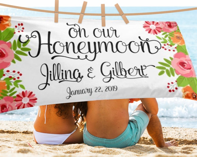 Honeymoon Custom Fancy Script Floral beach Towel - Wedding Beach Towel, Honeymoon Mr. and Mrs. Personalized Beach Towel