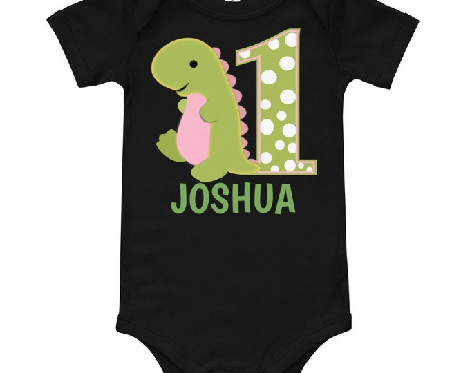 First Birthday Dinosaur Custom Name Bodysuit | baby first birthday | babys first birthday | first birthday gift | babys 1st birthday