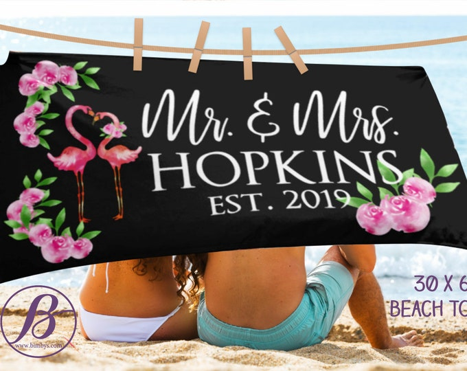 Mr and Mrs Beach Towel - Personalized Beach Towel - Beach Towel Personalized - Bride Towel - Personalized Future Mrs - Bridesmaid Gift